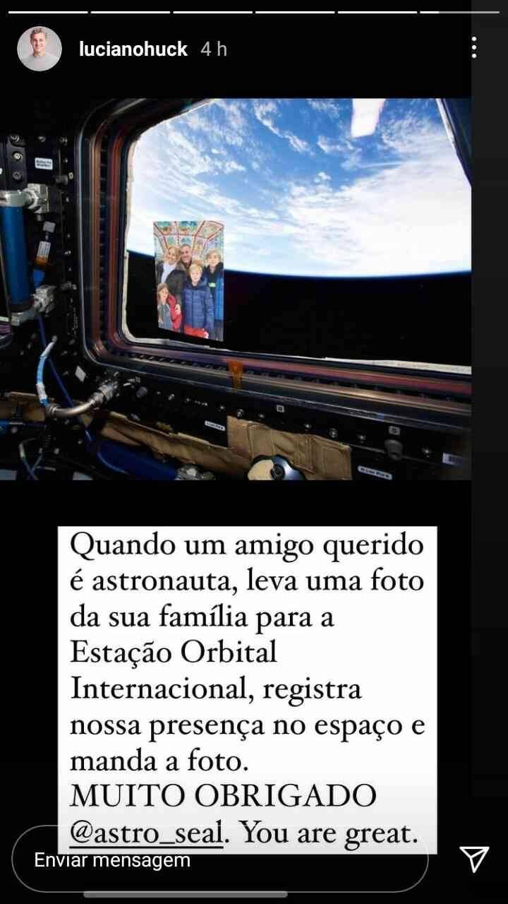Astronauta envia foto da família de Luciano Huck do espaço (Foto: Reprodução/Instagram)