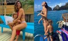 Isis Valverde posa com o filho em passeio de barco em viagem a Noronha