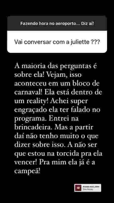 Thiago Rodrigues sobre affair com Juliette do BBB: 'não tenho o que dizer' (Foto: Reprodução/Instagram)