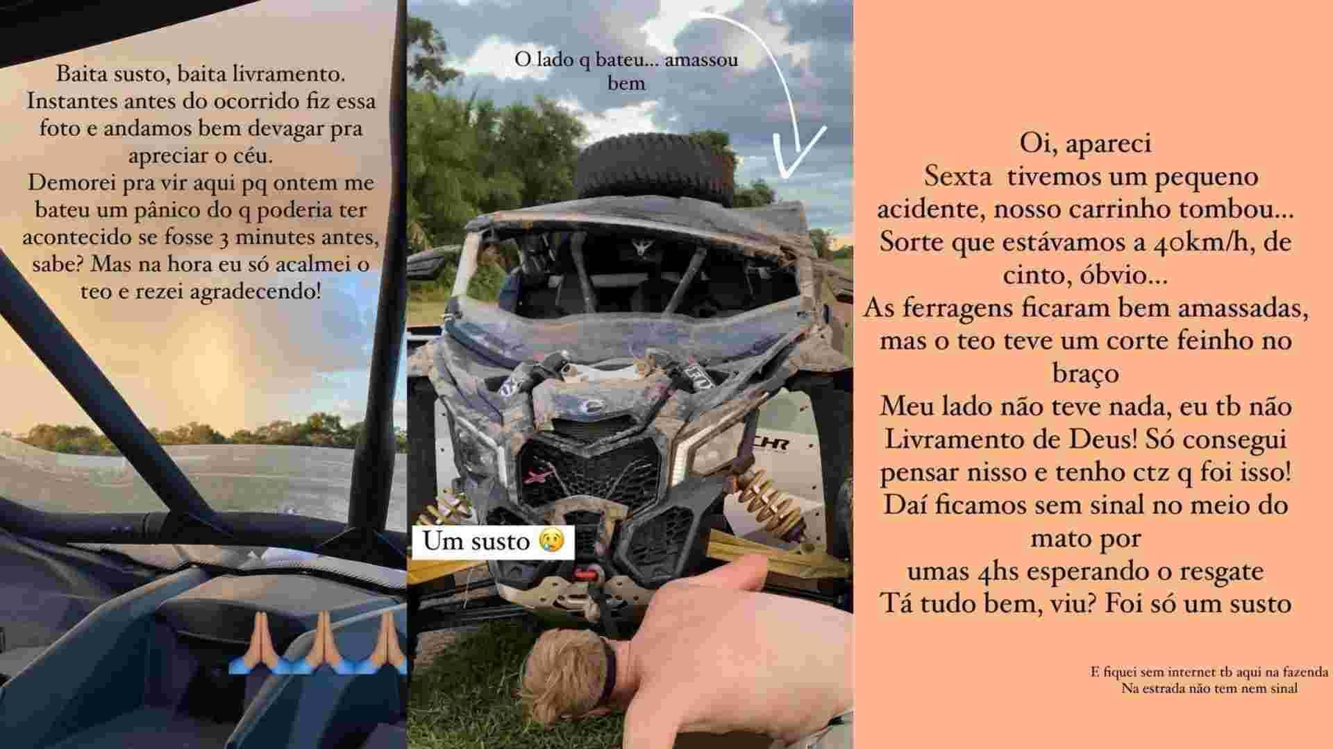Gabi Luthai e Teo Teló sofrem acidente: 'baita susto, baita livramento' (Foto: Reprodução/Instagram)