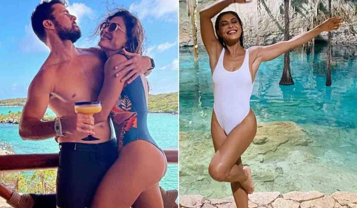Juliana Paes posa com o marido durante viagem à Cancún