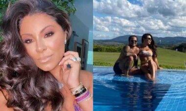 Andressa Miranda celebra 33 anos na piscina com homenagem de Gretchen