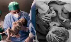 André Rizek exibe novas fotos do parto dos gêmeos com Andréia Sadi