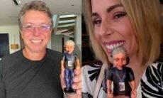 Ana Furtado exibe miniatura de Boninho e brinca: 'a cara da Palmirinha'