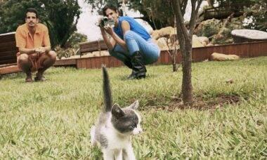 Enzo Celulari e Bruna Marquezine posam com gatinho em novo clique fofo