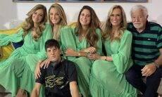 Helô Pinheiro combina look com as filhas para aniversário do filho caçula