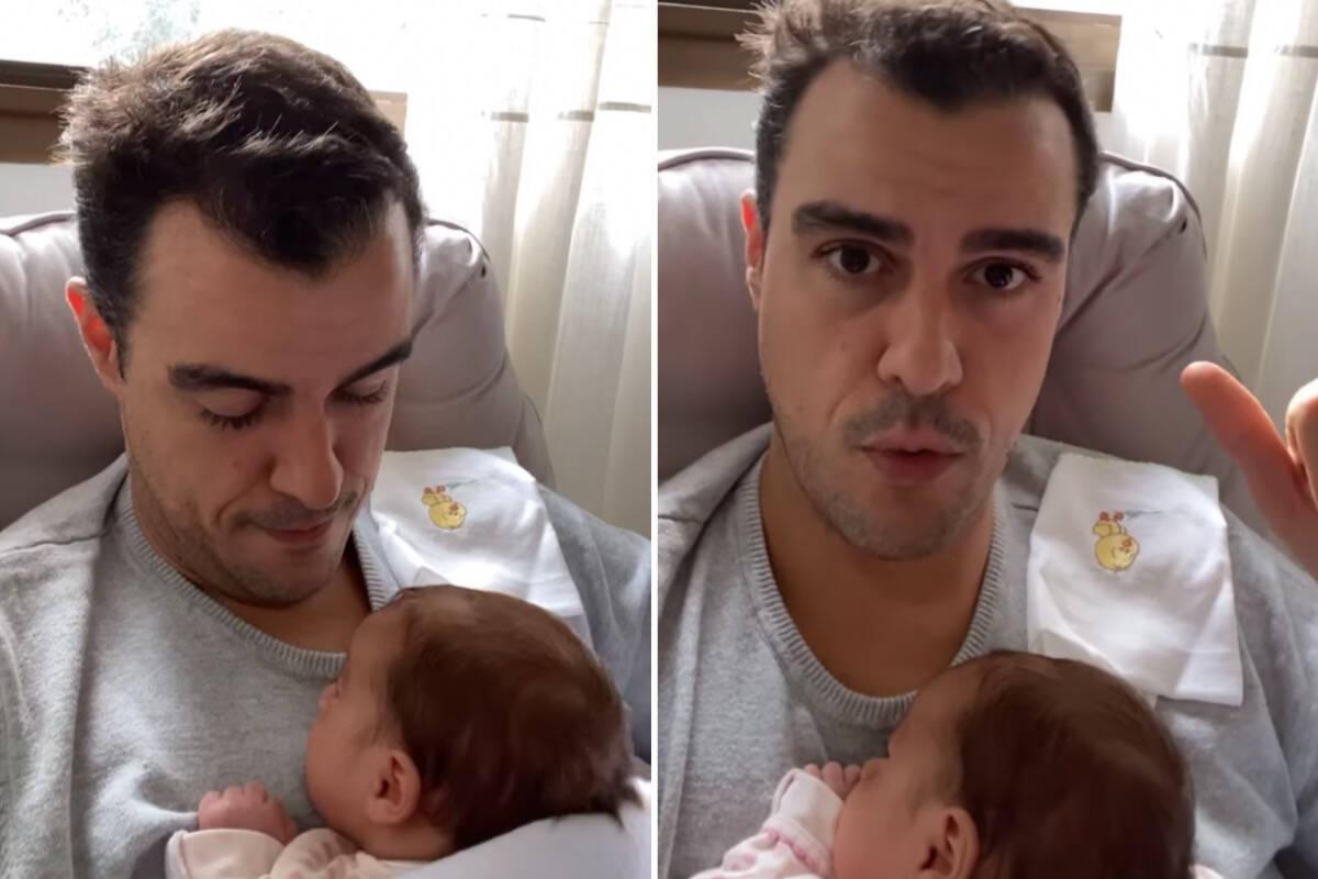 """Joaquim Lopes conta como foi a vacinação das filhas gêmeas: """"Semi infarto"""""""