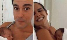 Joaquim Lopes e Marcella Fogaça mostram o rostinho das filhas gêmeas