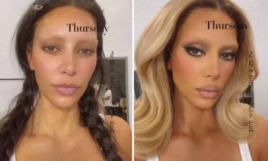 Kim Kardashian aparece loira e com as sobrancelhas descoloridas em vídeos