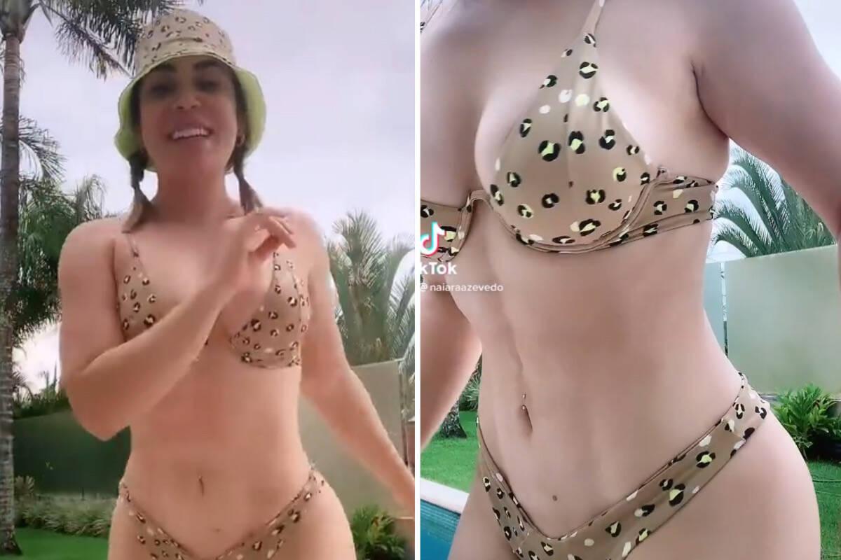 Após perder 30 quilos e fazer lipo, Naiara Azevedo dança de biquíni e exibe tanquinho