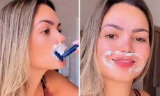 """Suzanna Freitas depila o buço e se diverte: """"Giletada nele"""""""