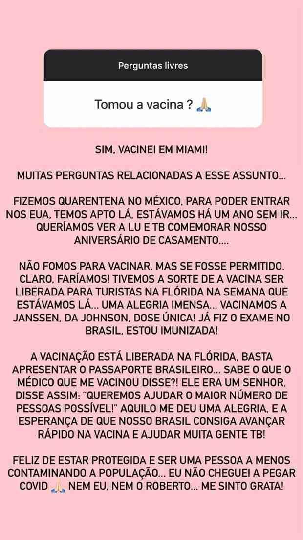 Ana Paula Siebert explica ter se vacinado em Miami: 'não fomos para isso' (Foto: Reprodução/Instagram)