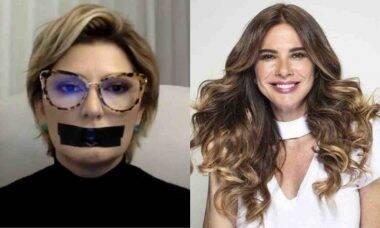 Antonia Fontenelle protesta com boca tapada após ação judicial de Luciana Gimenez