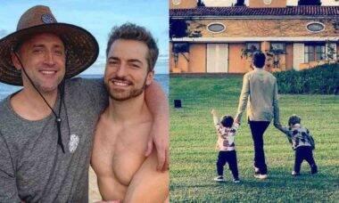 Viúvo de Paulo Gustavo posa com os filhos: 'quem tem amigos tem tudo'