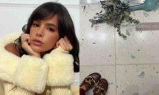 Bruna Marquezine quebra vaso de decoração em loja de luxo