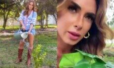 Nicole Bahls planta costela-de-adão de plástico: 'uma semana aguando'