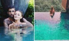 """Pedro Scooby mostra Cintia Dicker nua na piscina e se declara: """"Com ela tudo se torna o paraíso"""""""