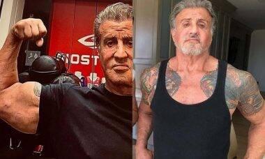 Aos 74 anos, Sylvester Stallone posta clique na academia exibindo bíceps