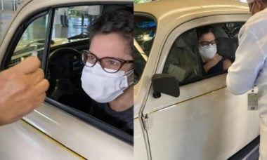 Sandra Annenberg encanta a web ao ir se vacinar contra covid de Fusca