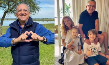 Galvão Bueno posta reencontro com os netos após um ano longe