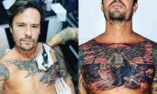 Paulo Vilhena exibe processo e finalização de tatuagem no peito