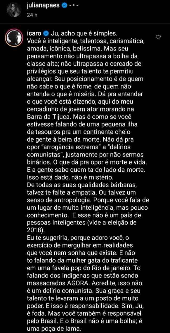 Ícaro Silva rebate vídeo polêmico de Juliana Paes: 'talvez te falte empatia' (Foto: Reprodução/Instagram)
