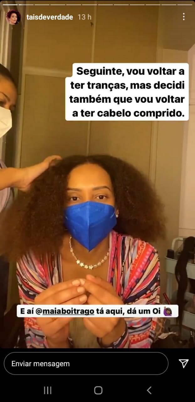 Taís Araujo exibe mudança no visual: 'vou voltar a ter trança' (Foto: Reprodução/Instagram)