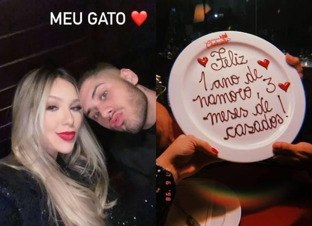 Virginia e Zé Felipe celebram 1 ano de namoro em motel de luxo de SP (Foto: Reprodução/Instagram)