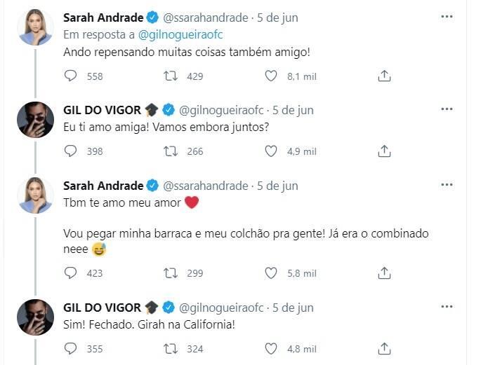 Após Gil, ex-BBBs Sarah e Arthur desabafam sobre fama: 'queria paz' (Foto: Reprodução/Instagram)
