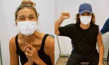 Sasha Meneghel e marido se vacinam contra covid-19 nos Estados Unidos