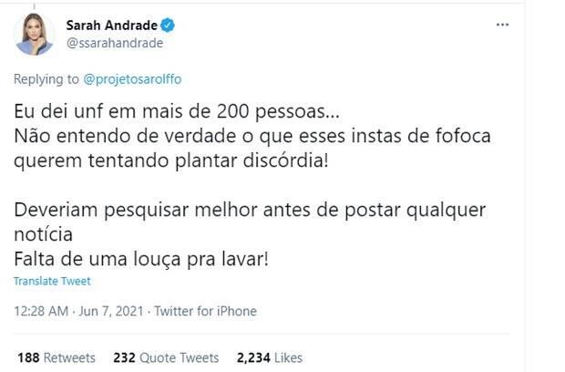 Sarah Andrade fala sobre suposto 'unfollow' em Anitta por conta de Juliette (Foto: Reprodução/Instagram)