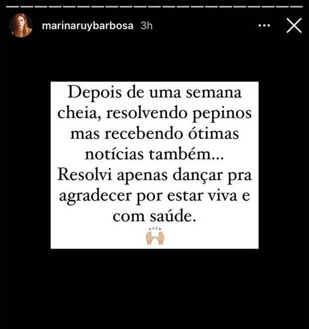 Marina Ruy Barbosa dança em vídeo na web: 'agradecer por estar viva e com saúde' (Foto: Reprodução/Instagram)