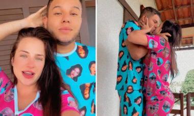 """Gabi Martins e Tierry usam pijamas com o rosto um do outro: """"Casalzinho"""""""
