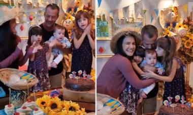 Kyra Gracie e Malvino Salvador fazem festinha para mêsversário de Rayan