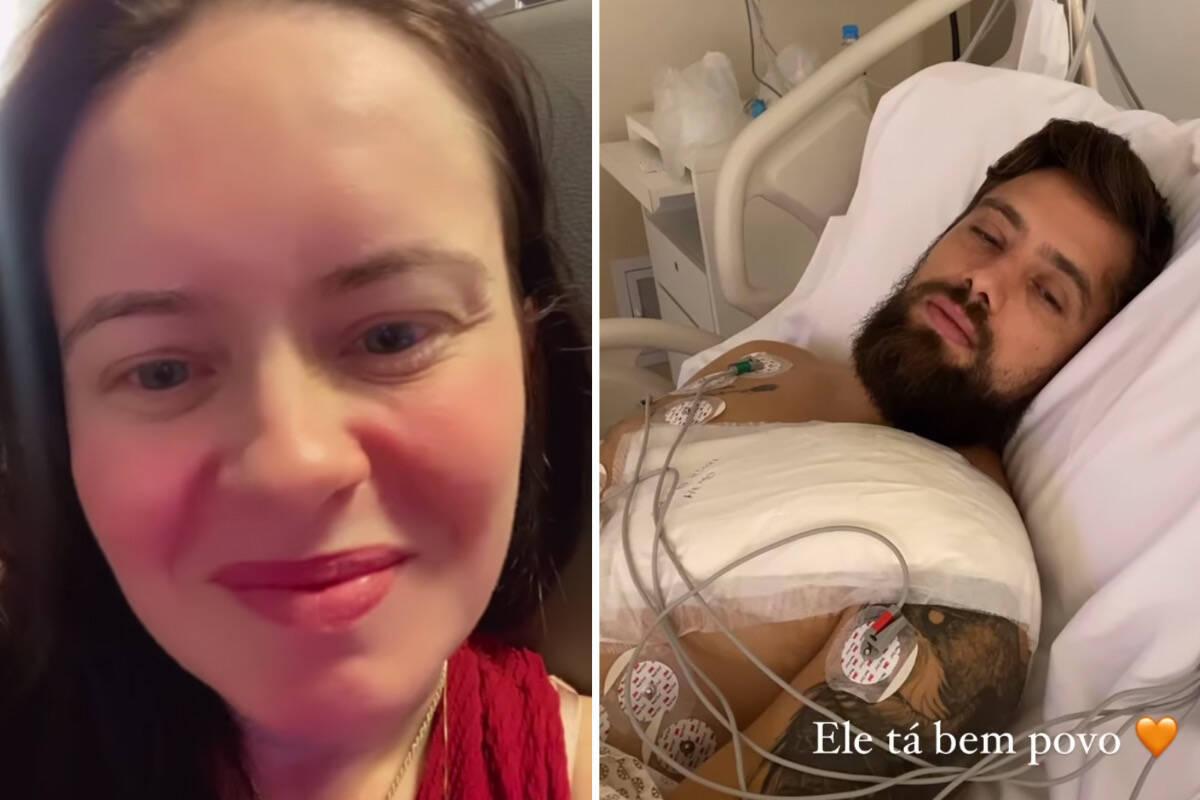 """Mariana Bridi compartilha pós-operatório de Rafael Cardoso: """"Não para de comer"""""""