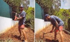 """Pedro Scooby ajeita horta do quintal e ganha elogio de Cintia Dicker: """"Coisa linda"""""""