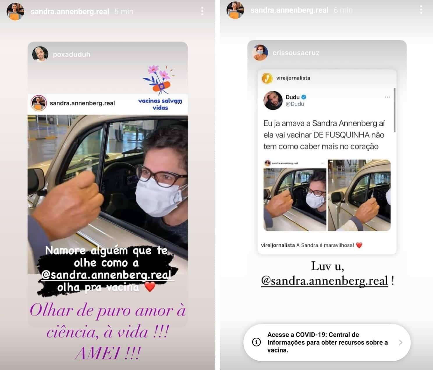 Sandra Annenberg encanta a web ao ir se vacinar contra covid de Fusca (Foto: Reprodução/Instagram)
