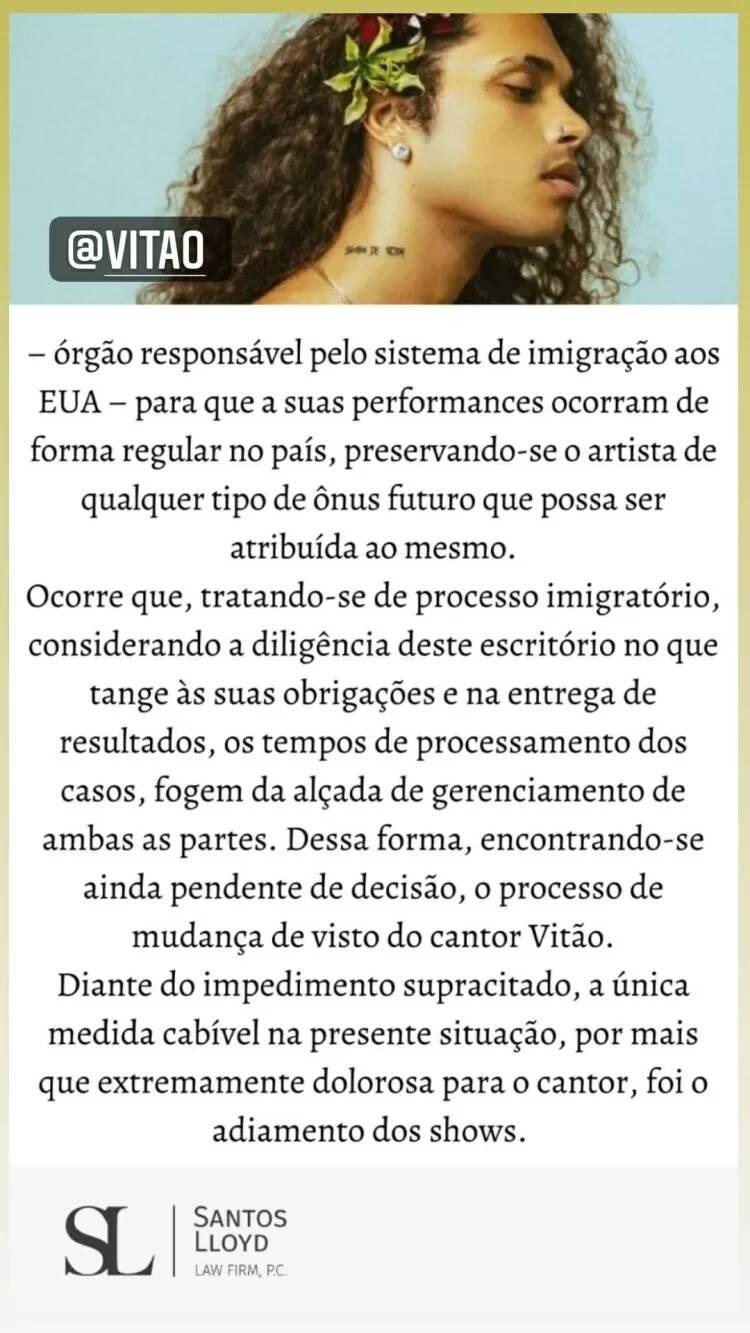 Vitão anuncia que teve de adiar a turnê nos EUA por causa de visto (Foto: Reprodução/Instagram)