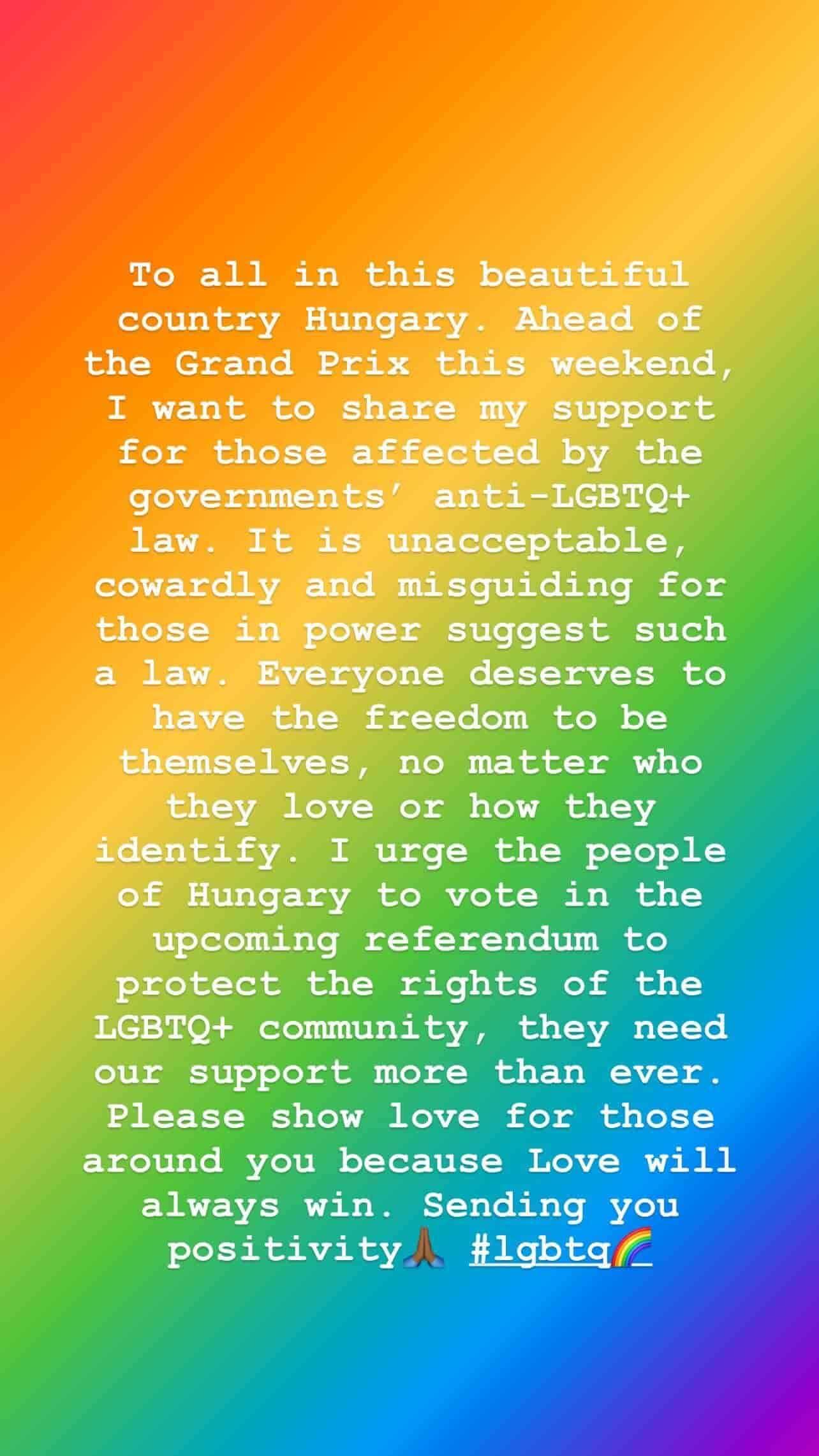Lewis Hamilton condena lei anti-LGBT da Hungria: 'inaceitável e covarde' (Foto: Reprodução/Instagram)