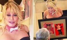 Dolly Parton recria sua capa da Playboy para o aniversário do marido