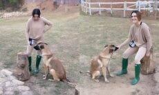 Cleo mostra adestramento de cachorro que adotou com o marido