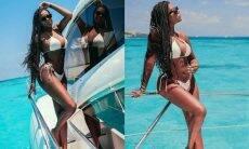 Ludmilla exibe diferentes amarrações do biquíni com clique em Cancún