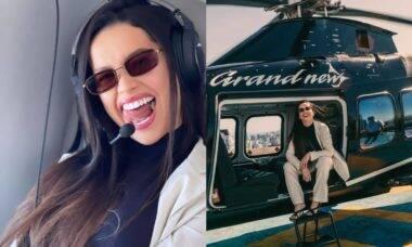 Juliette Freire curte andar de helicóptero: 'tô chique demais'