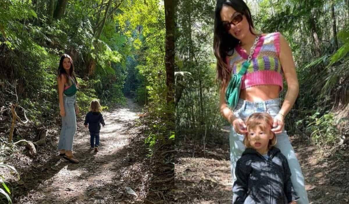 Isis Valverde curte natureza com o filho em trilha: 'selva e família'