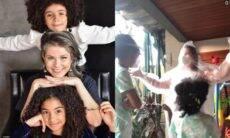 Samara Felippo usa capa de chuva para abraçar as filha com covid-19