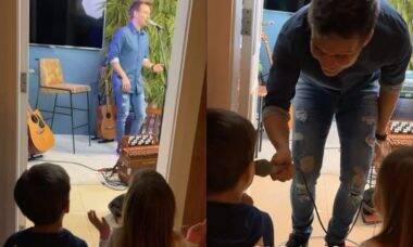 Thais Fersoza filma filhos curtindo e cantando em live de Michel Teló