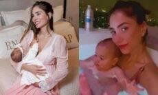 Romana Novais posa com filha em banheira luxuosa: 'spa com a mamãe'