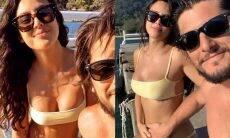 Bruno Gissoni acaricia barriga de gravidez da esposa Yanna Lavigne