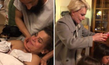 Genro de Ana Maria Braga compartilha vídeo do parto domiciliar do filho