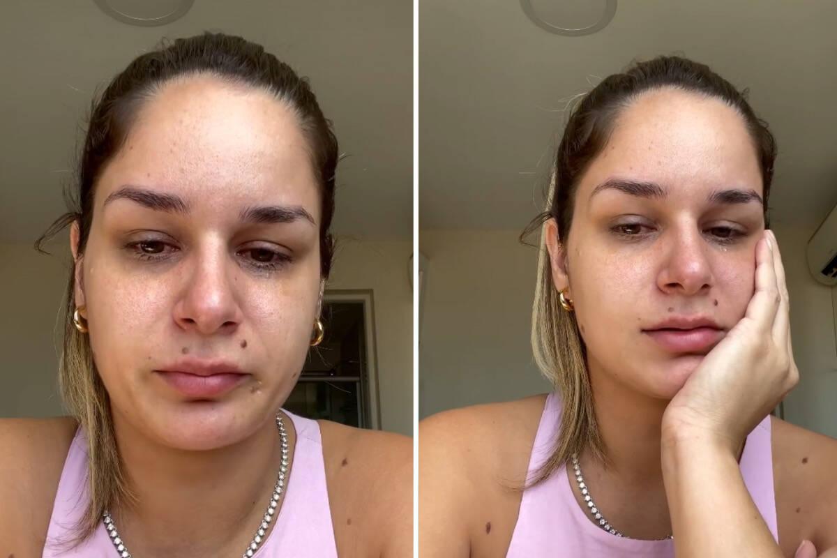 """Pamella Holanda chora e diz que não tem onde morar: """"Nos deixou sem casa de propósito"""""""